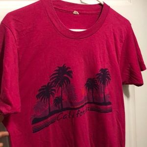 Vintage California beaches sunset shirt raspberry